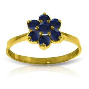 14K. SOLID GOLD RING WITH NATURAL SAPPHIRES